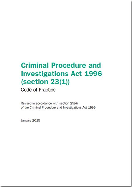 police law sections criminal procedure and investigations act 1996 section 23 1