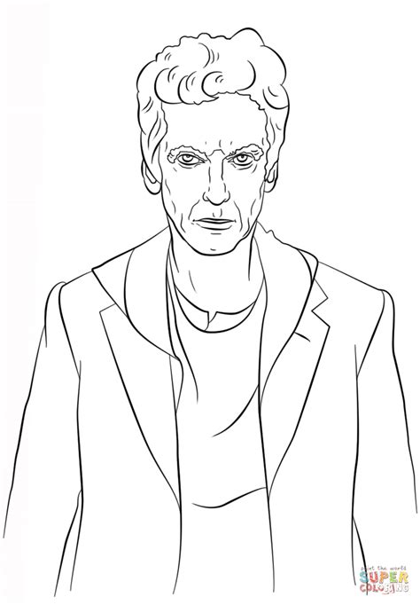 dr who coloring pages the twelfth doctor from doctor who coloring