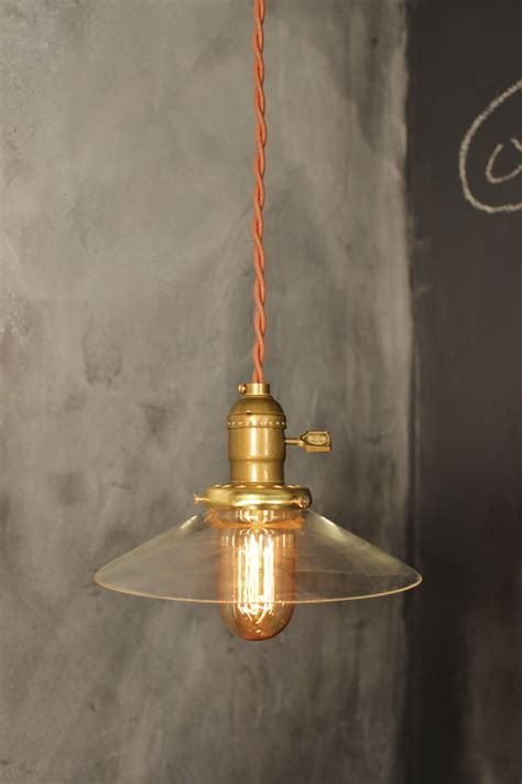 Etsy Pendant Light Vintage Pendant Light With Glass Shallow Cone Shade Machine