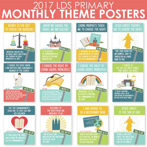 photo themes for each month 2017 lds primary monthly theme posters now on sale 8x10