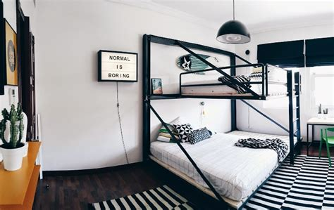 Stylish Black And White Boys Room With Yellow Accents And Black Boys Room