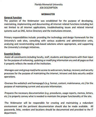 webmaster description sle webmaster description 8 exles in word pdf