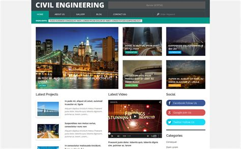 themes wordpress engineering civil engineering wordpress template