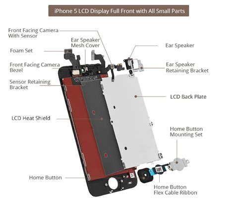 Kamera Depan Small Front 4s Original 1 iphone 5 lcd screen assembly small parts list