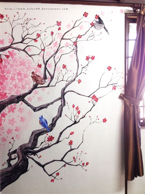 Huge Wall Murals cherry blossom wall by nilec88 on deviantart