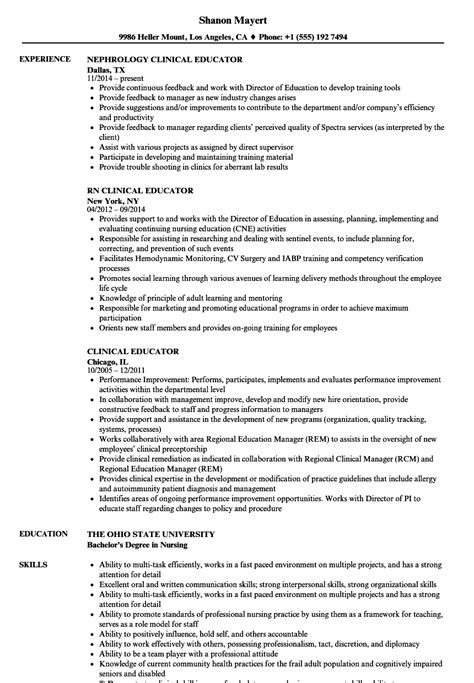 Educator Resume by Clinical Educator Resume Sles Velvet