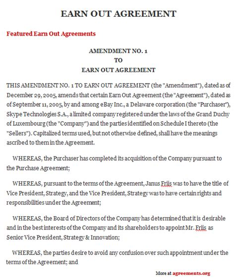 earn out agreement template earn out agreement sle earn out agreement template