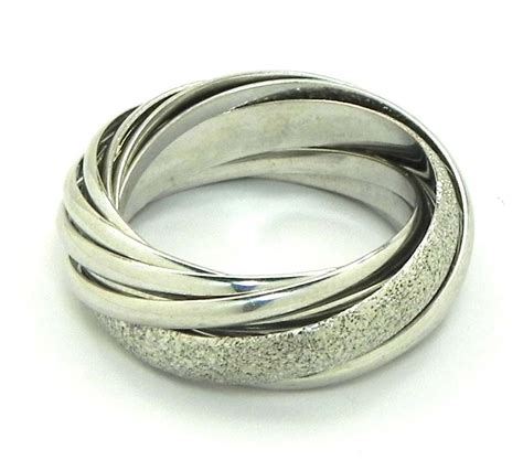 ladies  white gold trinity style wedding bands rings