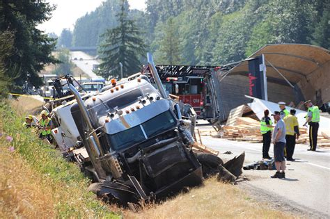 trucks crash update highway 1 westbound in langley open again after