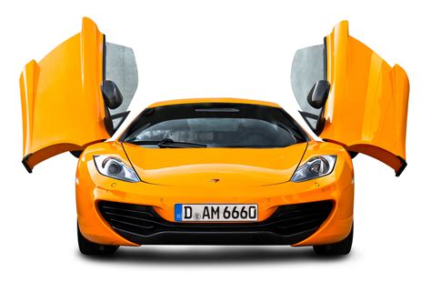 front png orange mclaren 12c front view car png image pngpix