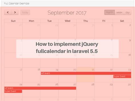 laravel calendar tutorial how to implement jquery fullcalendar in laravel 5 5