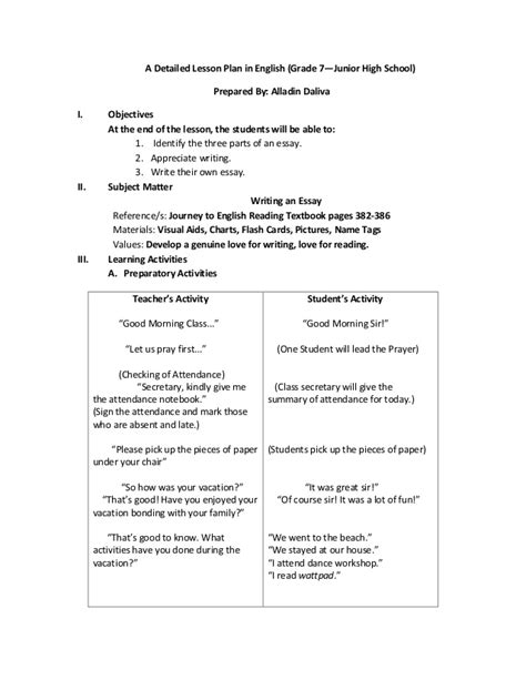 biography esl lesson plan a detailed lesson plan in english