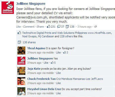 application letter for service crew in jollibee stonewall services