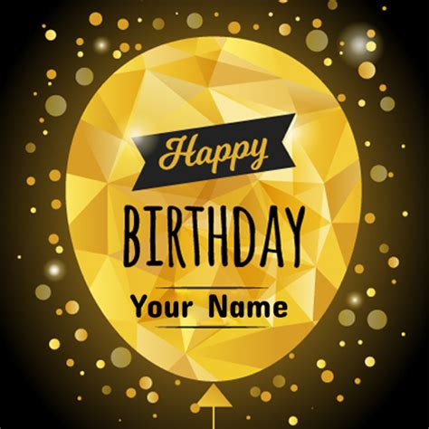 Create Birthday Card With Name And Photo Write Name On Polygonal Golden Balloon Birthday Card