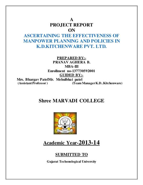 Mba Project Report On Manpower Planning by Project On Kitchen Ware