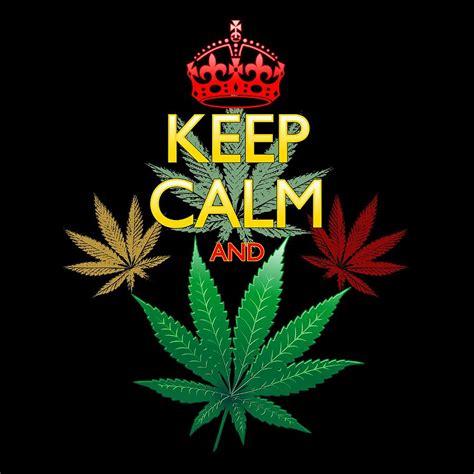 keep calm and marijuana leaf digital art by bluedarkart lem