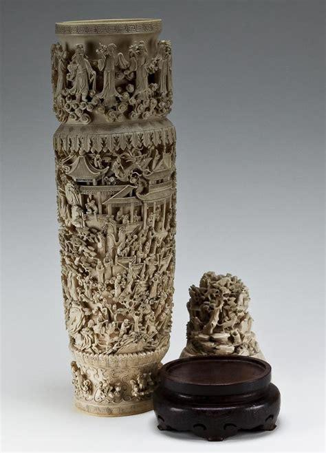 Ivory Dynasty Vase by Igavel Auctions Qing Dynasty Carved Ivory Vase