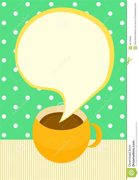 talking coffee cup invitation card stock illustration