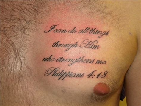 bible quote on strength tattoo on chest