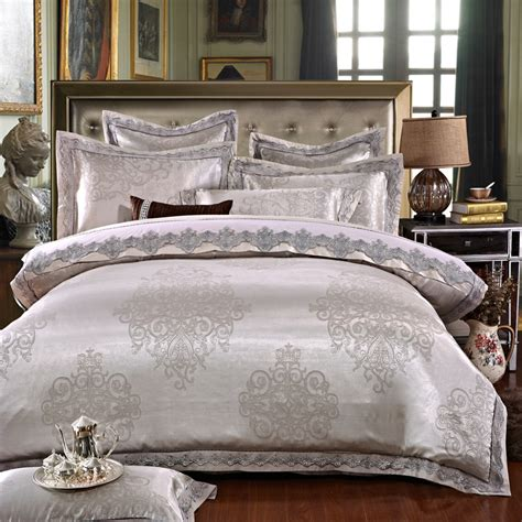 Sprei Bed Cover Home Silk Hs42 ivarose luxury jacquard silk bed linen grey silver gold satin bedding set bedspread king
