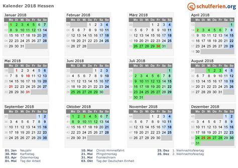 kalender 2018 ferien hessen feiertage