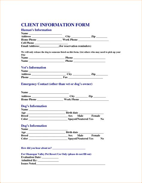 Customer Information Letter Client Information Form Template Holala