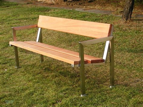 park bench wood park bench bench slc18 stainless steel with wood