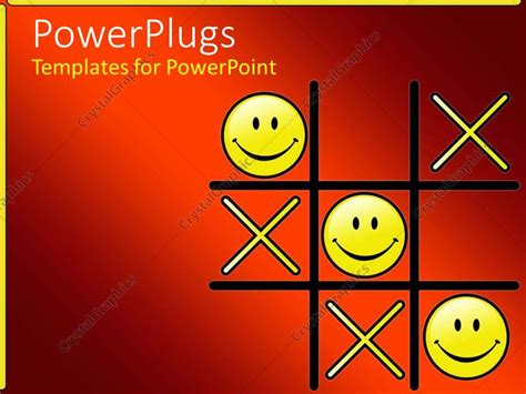 powerpoint template tic tac toe game with winning smiley