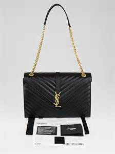 Ysl Quilted Bag by Yves Laurent Black Quilted Grained Leather Large