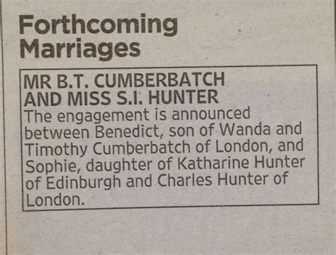 Wedding Announcement Newspaper Uk by Benedict Cumberbatch Engaged To As He Puts