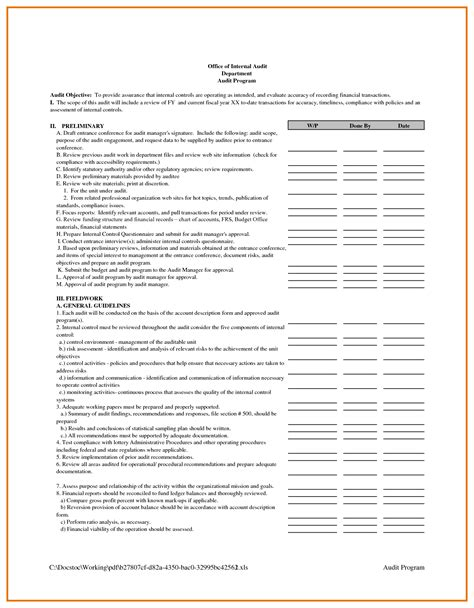 audit summary template masir