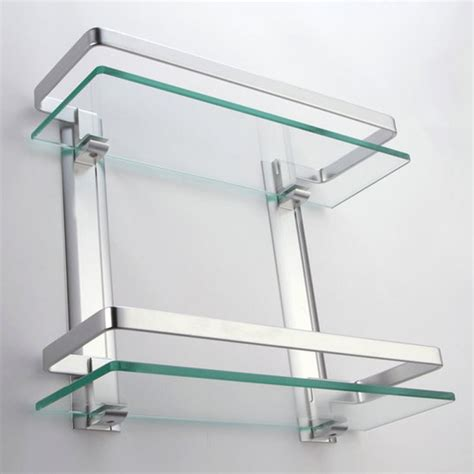 kes bathroom 2 tier glass shelf with rail aluminum and