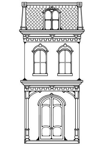 A House Coloring Page by Row House Coloring Page Free Printable