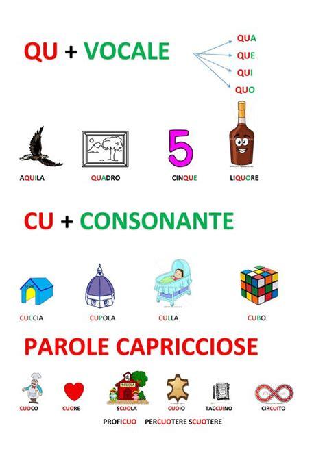 trova parole con queste lettere cartellone cu qu ortografia ricerca