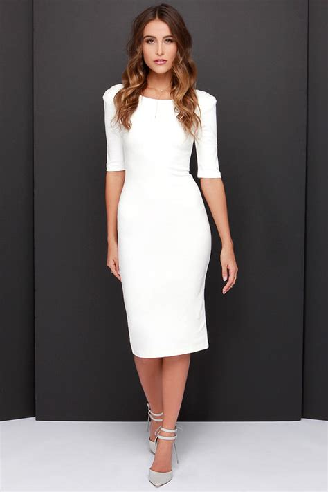 lulu s cute ivory dress midi dress bodycon dress cocktail