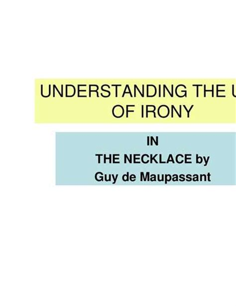 types of irony in the necklace free essays studymode