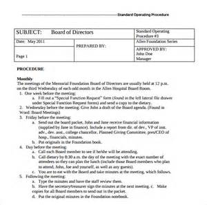 standard of procedure template sle procedure manual 7 documents in pdf word