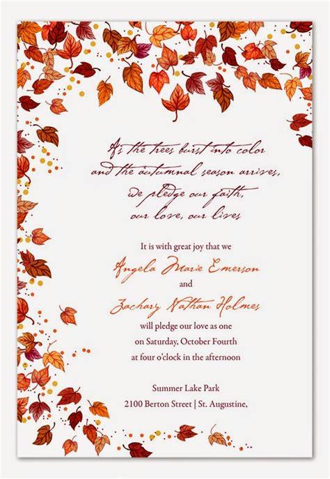 Wedding Invitations Fall Theme by Wedding Stuff Ideas Fall Wedding Theme