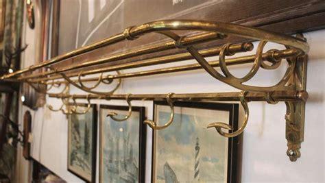 train rack bathroom shelf vintage ornate brass train style shelf and coat rack at 1stdibs