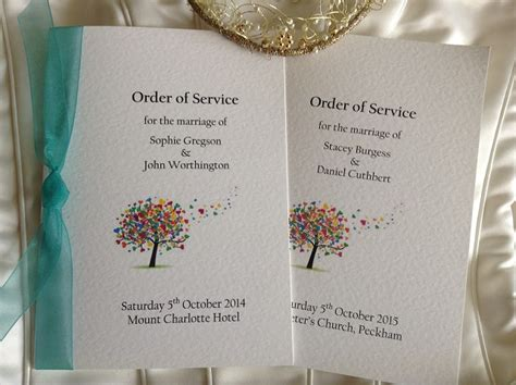 layout of a wedding order of service wedding order of service books
