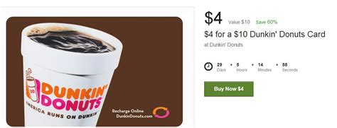 Where To Buy Dunkin Donuts Gift Cards - 10 dunkin donuts gift card only 4 60 off heavenly steals