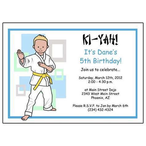 karate birthday card template martial arts or karate kid fill in the blank invitations