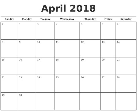 printable monthly calendar 2018 april 2018 monthly calendar printable