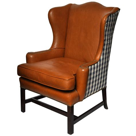 Colonial Home Interiors Leather Wing Chair At 1stdibs