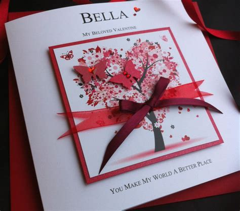 Valentines Handmade Card - floral tree handmade s card personalised