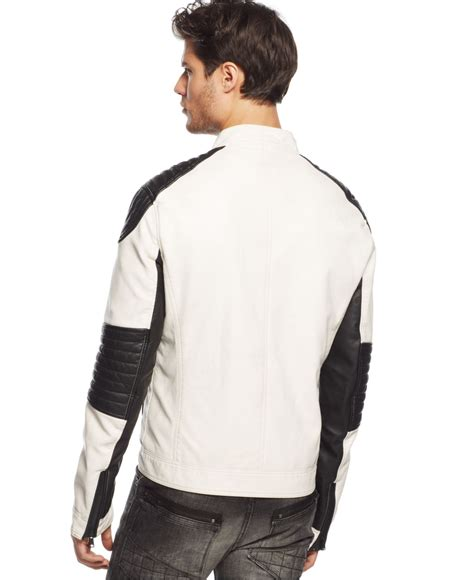 Jaket Zipper Twotone lyst rogue state two tone moto jacket in white for