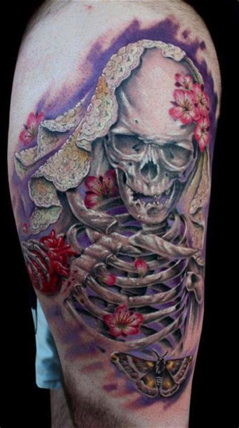 dirty tattoo designs skeleton thigh by roses