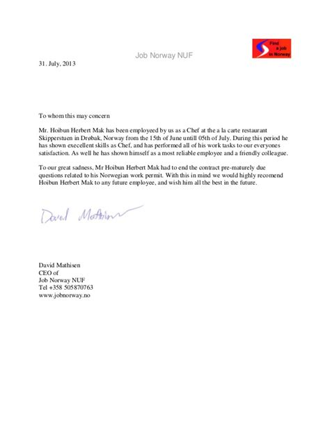 Recommendation Letter From Employer Restaurant Nuf Recommendation Letter