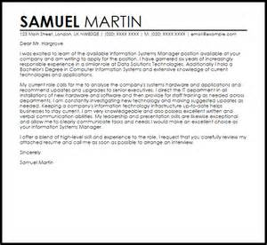 information systems manager cover letter sample livecareer