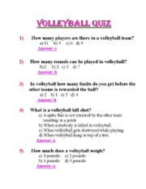 Printable Volleyball Test | english teaching worksheets volleyball